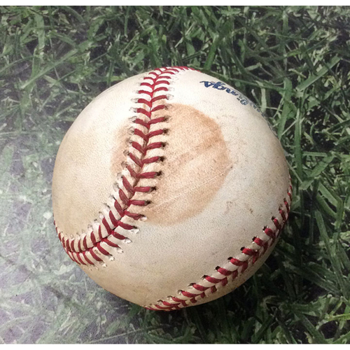 Photo of Game-Used Baseball MIN@MIL 07/04/18 - Jeremy Jeffress - Jorge Polanco: RBI Single