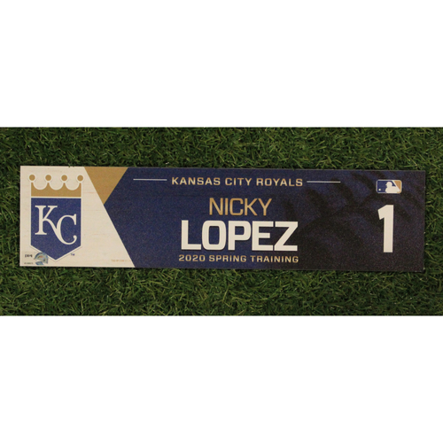 Photo of Game-Used Spring Training Locker Tag: Nicky Lopez #1