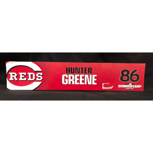 Photo of Hunter Greene -- 2020 Sumer Camp Locker Tag -- Team-Issued