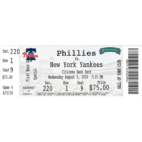 Photo of August 5, 2020 Ticket(Game 2): Phillies vs. Yankees