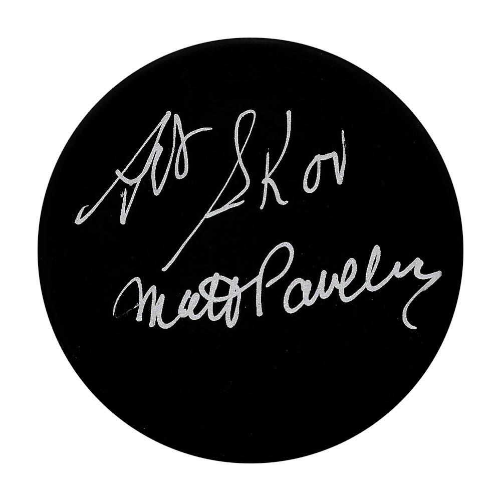 Art Skov & Matt Pavelich Autographed In Glas Co Vintage Puck (Referees)