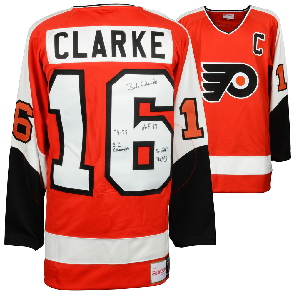 Bobby Clarke Philadelphia Flyers Autographed Orange Mitchell & Ness Jersey with Multiple Inscriptions