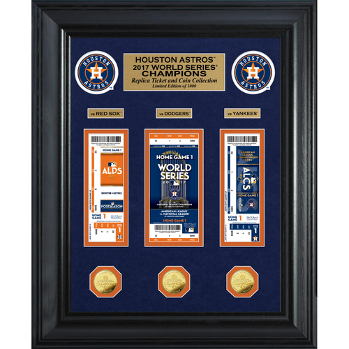 Serial #1! Houston Astros 2017 World Series Champions Deluxe Gold Coin & Ticket Collection