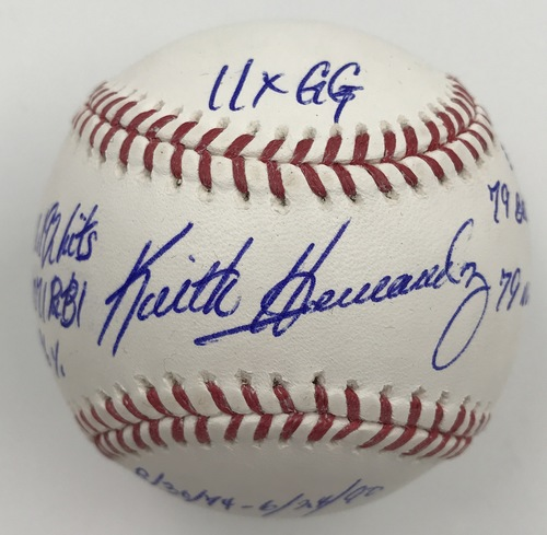 Photo of Keith Hernandez Autographed 'STAT' Inscription Baseball
