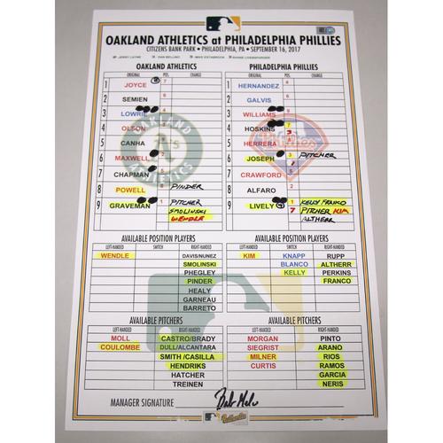 Photo of Lineup Card - 9/16/17 Oakland Athletics at Philadelphia Phillies