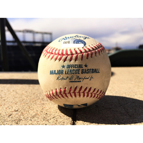 Photo of Colorado Rockies Carlos Gonzalez Game-Used Baseball - Double