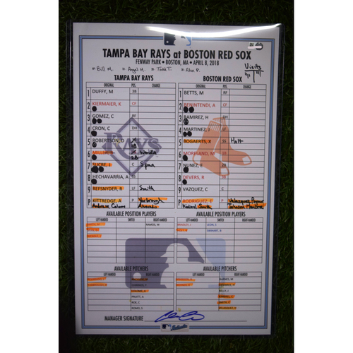 Photo of Game Used Line Up Card - April 8, 2018 - Tampa Bay Rays at Boston Red Sox