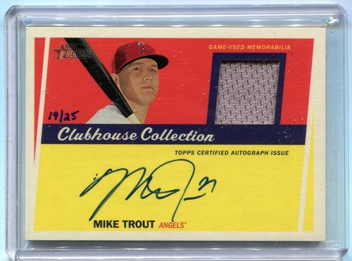 Photo of 2016 Topps Heritage Clubhouse Collection Relic Autographs Mike Trout