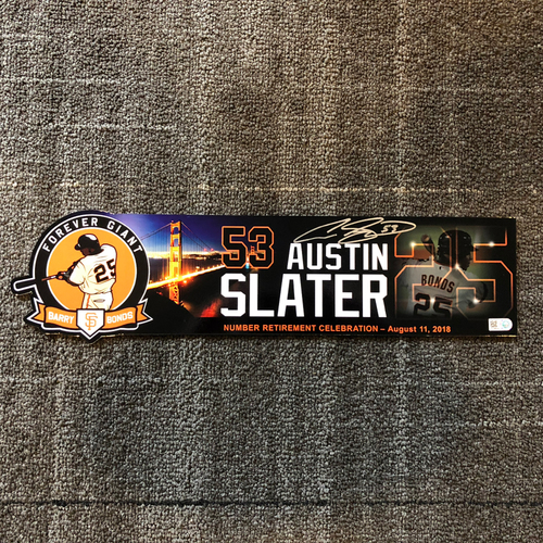 Photo of 2018 San Francisco Giants - Autographed Locker Tag - #25 Number Retirement Game - #53 Austin Slater
