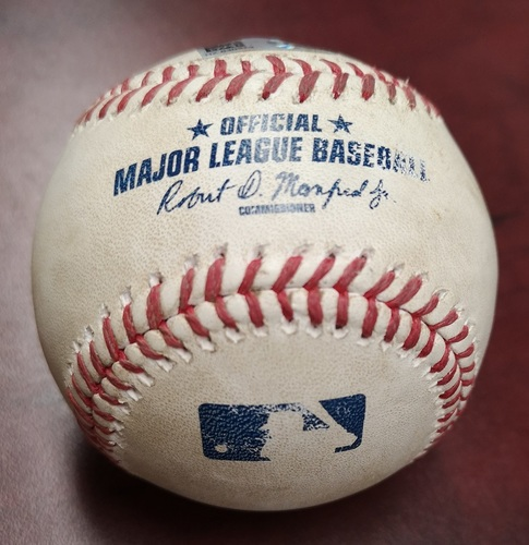 Photo of Authenticated Game Used Baseball - Foul Ball by Mark Teixeira against David Price (August 14, 2015 vs New York Yankees). Top 1.