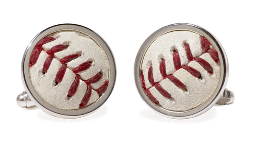 Photo of Wrigley Field Cubs Game-Used Baseball Cuff Links