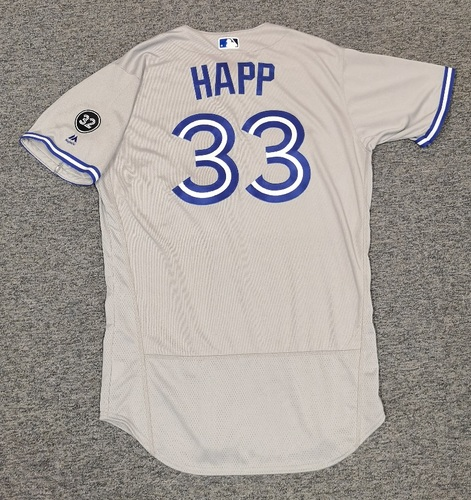 Photo of Authenticated Team Issued Jersey - #33 J.A. Happ (2018 Season). Size 46.