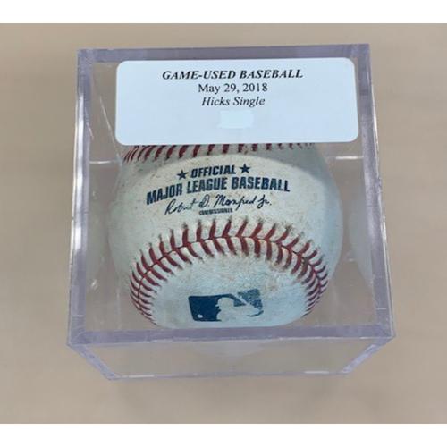 Photo of Game-Used Baseball: John Hicks Single