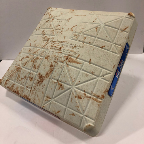 Photo of 2018 NLDS Game Used Base 10/7/18 - 1st base used during 2nd inning, Ronald Acuna Jr. Grandslam, Youngest in player in MLB history to hit grandslam in postseason