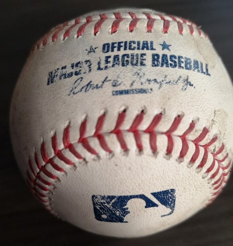 Photo of Authenticated Game Used Baseball: Double by Freddy Galvis against Tommy Kahnle (Aug 9, 19 vs NYY). Bottom 8.