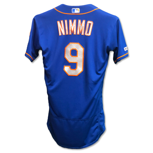 Photo of Brandon Nimmo #9 - Team Issued Blue Alt. Road Jersey - 2019 Season