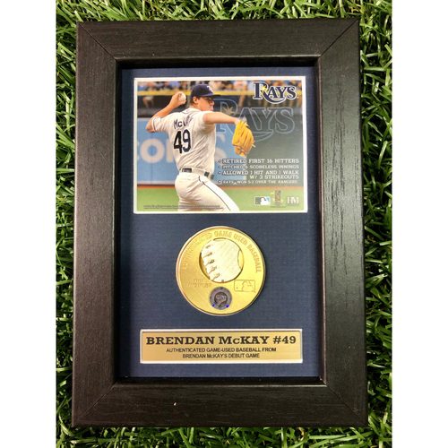 Photo of Rays Baseball Foundation: Brendan McKay MLB Debut Game Used Baseball Swatch with Photo - June 29, 2019 v TEX