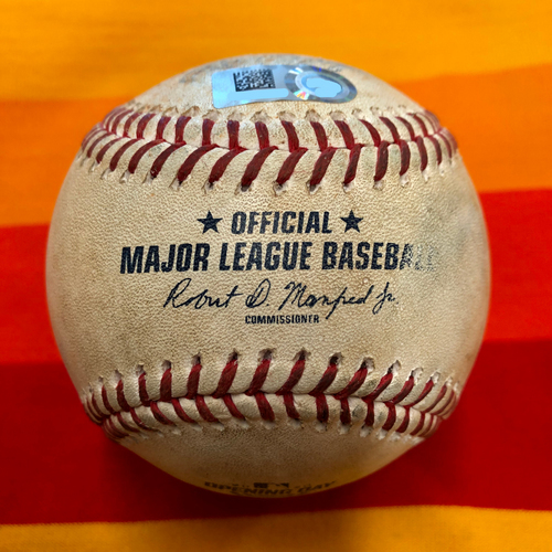 Photo of Opening Day 2020 Game-Used Baseball: Marco Gonzales to Michael Brantley (Four Pitches)