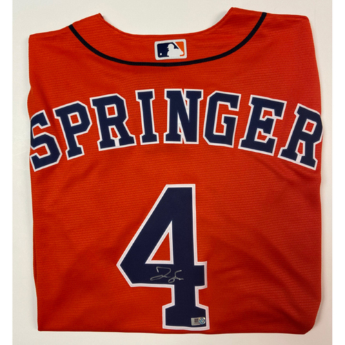 Photo of George Springer Autographed Replica Orange Alternate Jersey