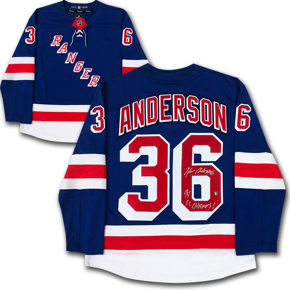 Glenn Anderson Autographed New York Rangers Fanatics Jersey w/94 SC CHAMPS! Inscription