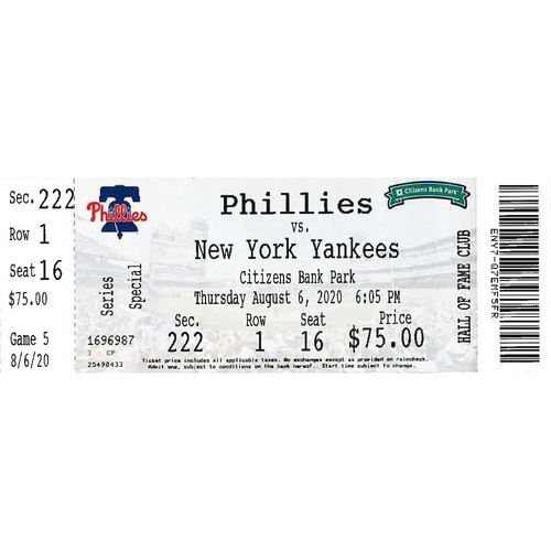 Photo of August 6, 2020 Ticket: Phillies vs. Yankees