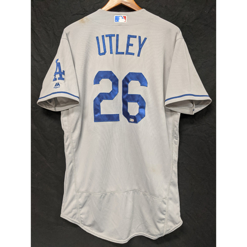Photo of Chase Utley Game-Used Road Jersey from 1st Series in Philadelphia as a Dodger August 17th 2016