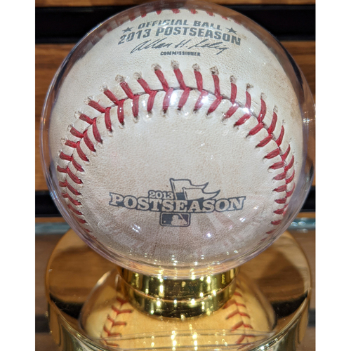Photo of 2013 ALCS Game 1 October 12, 2013 Red Sox vs. Tigers Game Used Baseball - Jon Lester to Prince Fielder