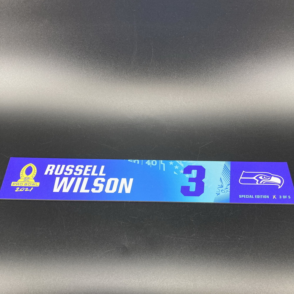 NFL - Seahawks Russell Wilson 2021 Pro Bowl Locker Nameplate Special Edition #3 of 5