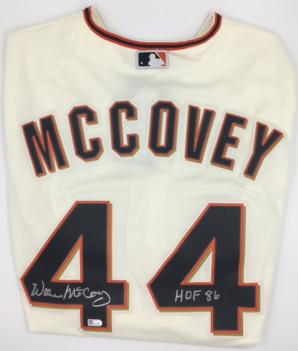 "Photo of Willie McCovey Autographed ""HOF 86"" Authentic Giants Home Jersey"