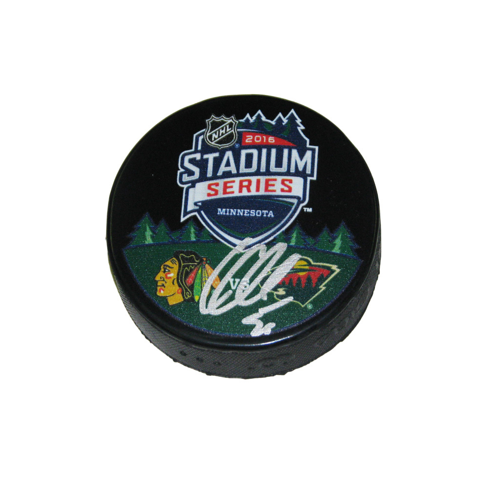 COREY CRAWFORD Signed Stadium Series 2016 Chicago Blackhawks Puck