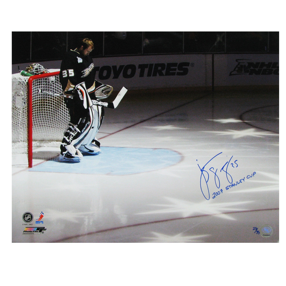 JEAN-SEBASTIEN GIGUERE Signed & Inscribed LIMITED EDITION Anaheim Ducks 2007 Stanley Cup Champs 16 X 20 Photo - 79022