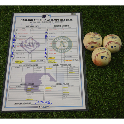 Photo of Game Used Line Up Card and Baseball Package: Tampa Bay Rays vs Oakland Athletics - June 11, 2017