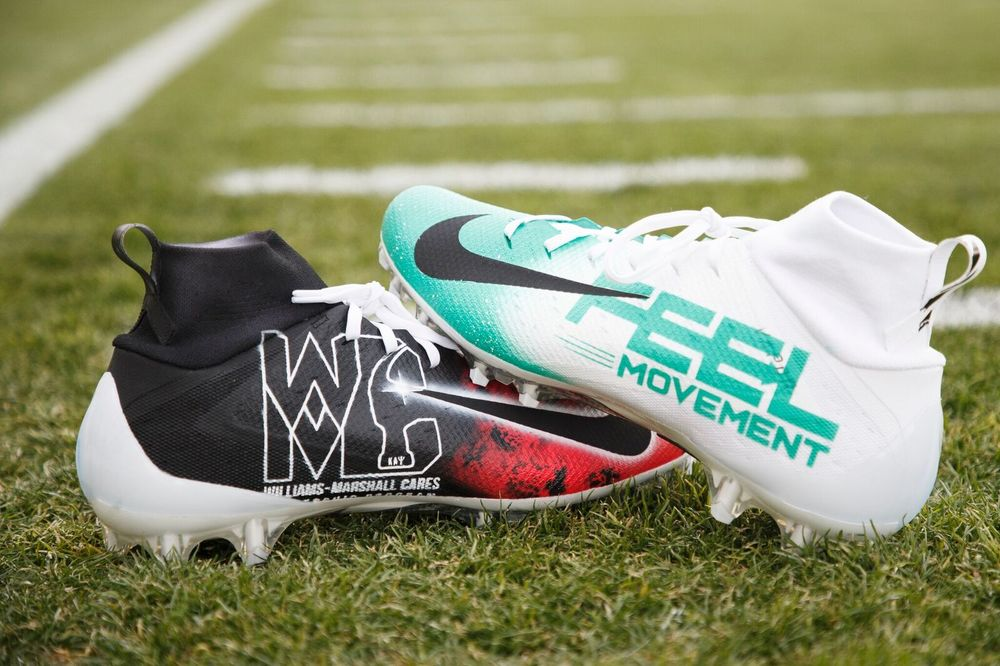 MY CAUSE MY CLEATS - DENVER BRONCOS BRANDON MARSHALL CUSTOM GAME WORN CLEATS