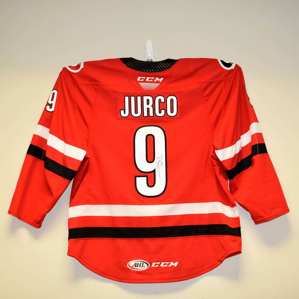 Charlotte Checkers 2019 Calder Cup Finals Game 1 Jersey Worn and Signed by #9 Tomas Jurco