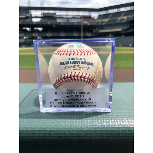 Photo of Colorado Rockies Game-Used Baseball - Pitcher: Chad Bettis, Batter: Vladimir Guerrero Jr. - Called Strike - June 2, 2019 vs. Blue Jays