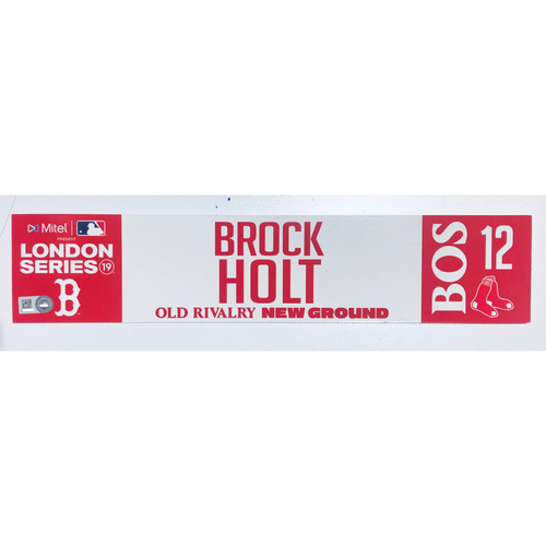 Photo of 2019 London Series - Game Used Locker Tag - Brock Holt, New York Yankees vs Boston Red Sox - 6/30/2019