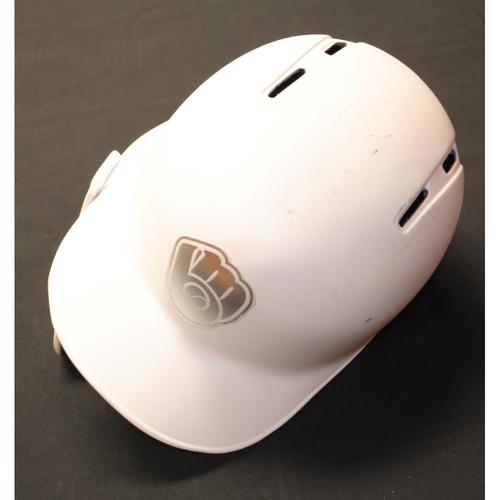 "Photo of Christian ""YELI"" Yelich Milwaukee Brewers Game-Used 2019 Players' Weekend Helmet"