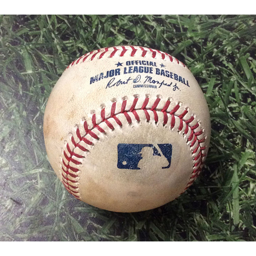Photo of Game-Used Baseball CIN@MIL  07/22/19 - Sonny Gray - Lorenzo Cain: Strikeout