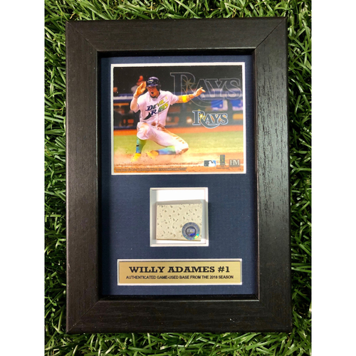 Photo of Rays Baseball Foundation: Willy Adames Game Used Base Swatch Framed Piece