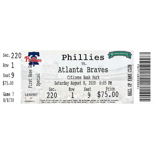 Photo of August 8, 2020 Ticket: Phillies vs. Braves