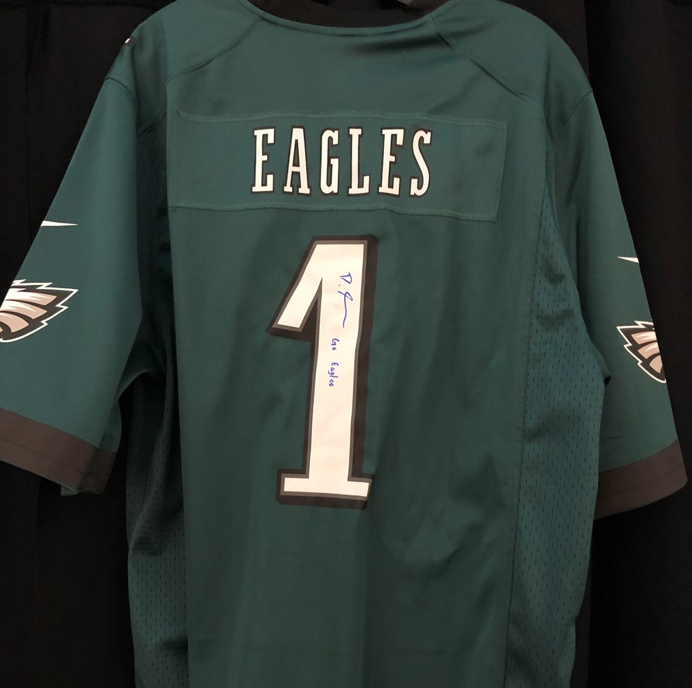 Devonta Smith  Autographed Eagles Replica Jersey- Signed Backstage At Draft - 1st Eagles Jersey Smith Signed After Being Drafted