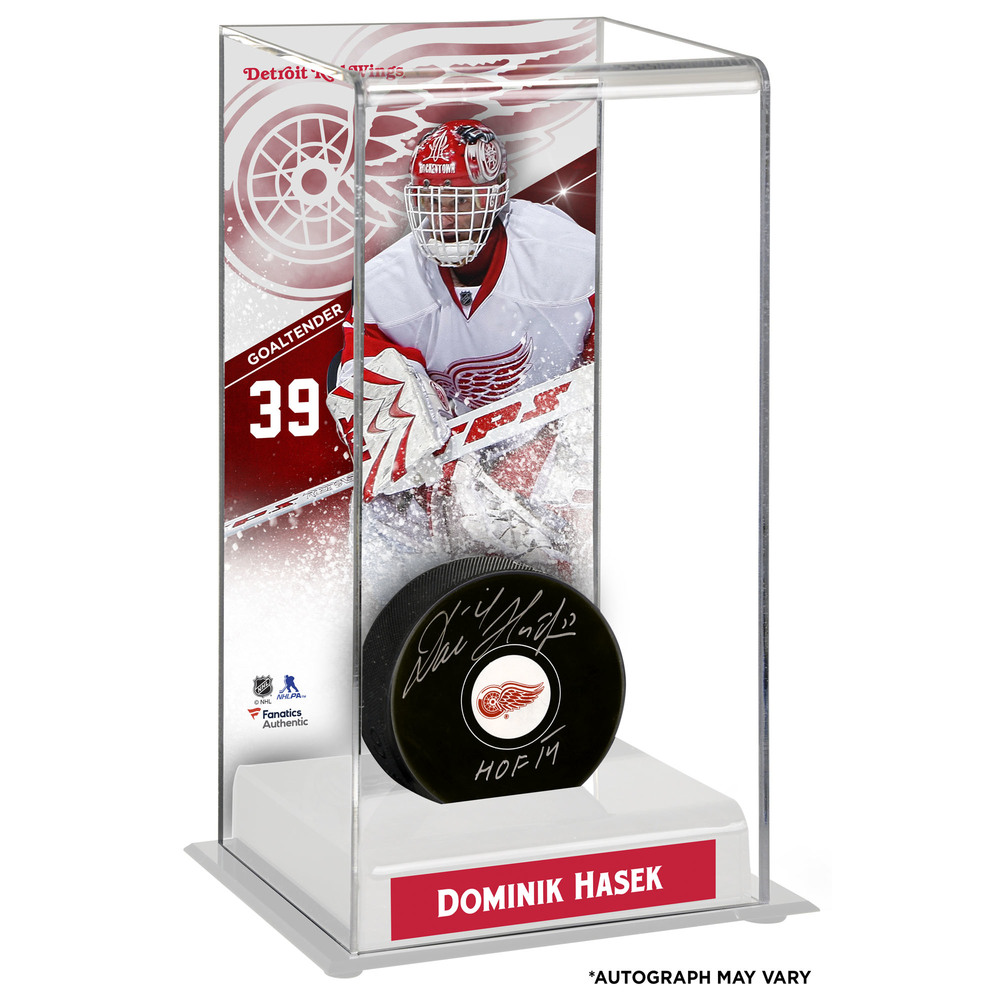 Dominik Hasek Detroit Red Wings Autographed Puck with Deluxe Tall Hockey Puck Case