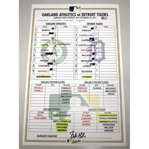 Photo of Lineup Card - 9/18/17 Oakland Athletics at Detroit Tigers