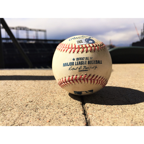 Photo of Colorado Rockies Chase Utley Game-Used Baseball - RBI Triple