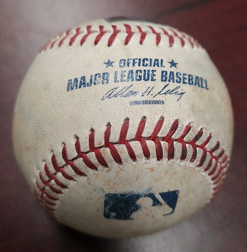 Photo of Authenticated Game Used Baseball - Foul ball by Carlos Beltran against Brett Cecil (April 5, 2014 vs New York Yankees). Top 8.
