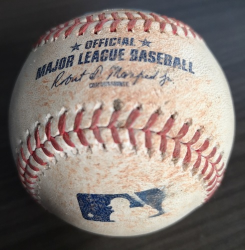 Photo of Authenticated Game Used Baseball: RBI Single by Vladimir Guerrero Jr. against Ariel Jurado (Aug 12, 19 vs TEX). Bottom 4.