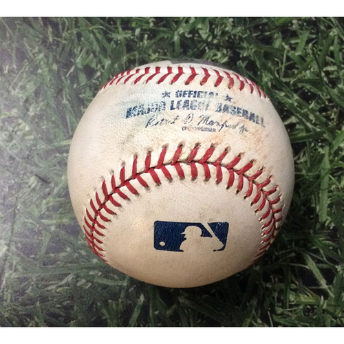 Photo of Game Used Baseball 07/15/19 ATL@MIL - Max Fried - Yasmani Grandal: Strikeout