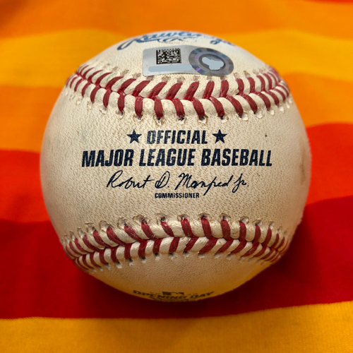 Photo of Opening Day 2020 Game-Used Baseball: Justin Verlander to Kyle Lewis (Home Run)