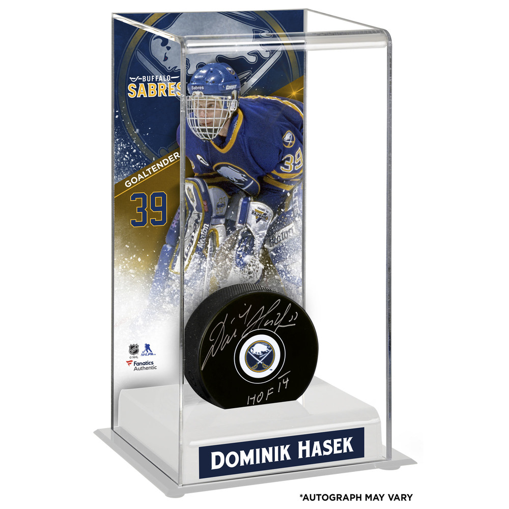 Dominik Hasek Buffalo Sabres Autographed Puck with Deluxe Tall Hockey Puck Case