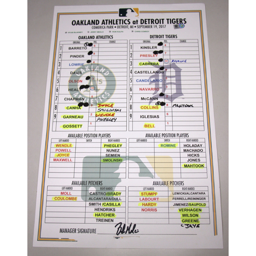 Photo of Lineup Card - 9/19/17 Oakland Athletics at Detroit Tigers